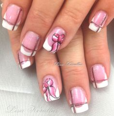 Pink and White with hand painted bows.