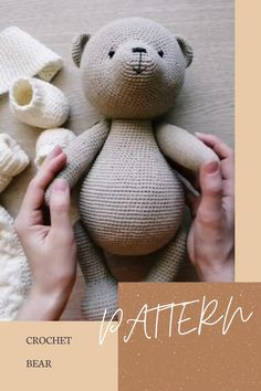 Discover recipes, home ideas, style inspiration and other ideas to try. Teddy Bear Patterns Free, Crochet Dolls Free Patterns, Crochet Teddy Bear Pattern Free, Knitted Teddy Bear, Knitted Animals, Bear Doll, Crochet Projects, Creations, Job Description