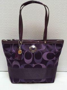 New Coach Purple Striped 3 Color Signature Tote #cheap #coach #purse cheap coach purse