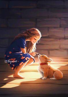 Sun Art, Digital Art Girl, Girl And Dog, First Art, Cute Cartoon Wallpapers, Art And Illustration, Anime Art Girl, Cartoon Art, Female Art