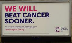 Cancer Research UK billboard poster spotted mid-August 2014. #cruk #cancer #research #charity #poster