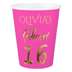 #Sweet 16 Typography Pattern Pink and Gold Elegant Paper Cup - #drinkware #cool #special