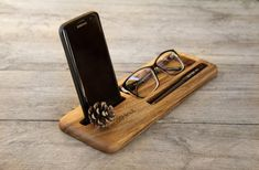 Custom Personalized Wooden iPhone Eyeglasses Pen Desk Organizer Dock Stand Station Holder Gift for Men Father's Day Him Brother Father Son Usb, Iphone, Bath Caddy, Eyeglasses, Mini, Wood, Accessories, Ideas, Home Furniture
