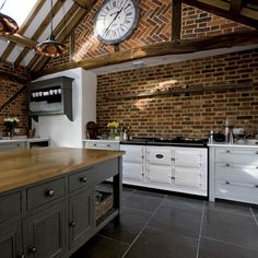 Talk about kitchen goals - how gorgeous is this white AGA Dual Control against the brick wall? Barn Kitchen, Aga Kitchen, Rustic Kitchen, Kitchen Remodel, Kitchen Design, Modern Kitchen, New Kitchen, Kitchen, Aga Cooker