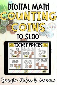 If you're teaching your 1st and 2nd grade students to count coins to $1.00 then check out these digital math activities for Google Classroom, Google Slides and Seesaw. These activities are perfect for counting quarters, dimes, nickels, and pennies, and making given amounts up to $1.00This resource includes the following activities: movie snacks, ticket prices, make the amount, and comparing coins. Get these digital worksheets and activities for counting coins to $1.00 today!
