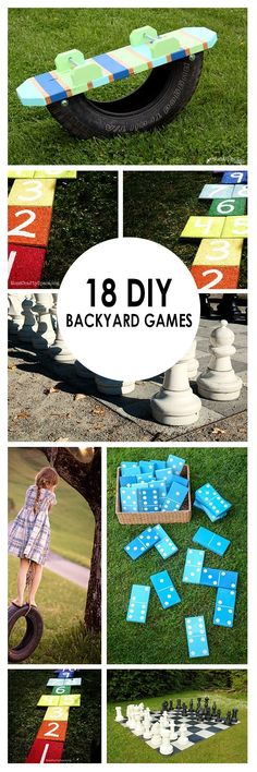 "It can be hard sometimes to get the family outside and being creative and active! Too many distractions with all those electronics. So, I have found 18 family friendly backyard games that you can make yourself! [   ""18 Backyard Games -- It can be hard sometimes to get the family outside and being creative and active! Too many distractions with all those electronics. So, I have found 18 family friendly backyard games that you can make yourself!"",   ""DIY Yard Dominoes A lot of work, but fun…"