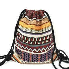 [ON SALE] Ethnic Aztec-Bohemian Styled Cotton Cinch Jacquard Embroidered Drawstring Backpacks for all age-groups. Girls can take them to school or colleges and women can use them as a gym drawstring backpack. Chic Backpack, Gypsy Bag, Bohemian Gypsy, Boho Chic, Bohemian Style, Gypsy Style, Hippie Style, Drawstring Backpack, Boho Fashion