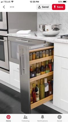 Astonishing Hidden Kitchen Storage Ideas You Must Have Do you have a small kitchen? Perhaps odd-sized cabinets or a less-than-ideal layout? It can be tough to find efficiency … Kitchen Room Design, Kitchen Cabinet Design, Home Decor Kitchen, Interior Design Kitchen, New Kitchen, Kitchen Ideas, Smart Kitchen, Cheap Kitchen, Country Kitchen
