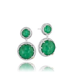 Green is the pantone color of the year! Clear quartz layered over green onyx spakles with every move you make! Double drop earrings are the 'it' accessory this season. Signature sculpted crescent silhouettes decorate every inch of the sparkling silver setting. Worn with your favorite LBD or a cute t-shirt and skinny jeasn you can't go wrong with these stunning earrings.
