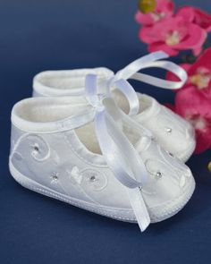 50613278a14e Sarah Louise Baby Girls Diamante Trim Christening Shoes 004410