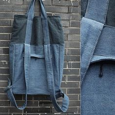 New fashion mixed color backpack&shoulder bag(linen material) Bag - New Fashion Mixed Color Backpack&shoulder. Mochila Jeans, Couture Cuir, Sacs Tote Bags, Colorful Backpacks, Backpack Pattern, Denim Crafts, Linen Bag, Denim Bag, Fabric Bags