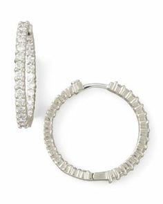 P2842 Roberto Coin 25mm White Gold Diamond Hoop Earrings, 1.53ct