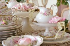 """"""" ~Claude Monet Spring cleaning is underway and I have been tidying and sorting - m. Shabby Chic Blog, Shabby Chic Cottage, Shabby Chic Homes, Vintage Dishes, Vintage China, Vintage Kitchen, Antique Tea Sets, Limoges China, French Decor"""