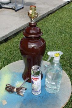 Home Ideas, DIY Projects, DIY Lamp, DIY Mercury Glass, DIY Pottery Bran