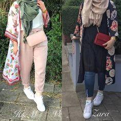 kimono-Casual chiffon kaftans with hijab – Just Trendy Girls Hijab Casual, Hijab Style, Hijab Chic, Abaya Style, Girly Outfits, Chic Outfits, Fashion Outfits, Beach Outfits, Modest Fashion