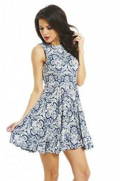 Sleeveless Skater Dress - AX Paris USA-Fashion Dresses, Black Dresses, Evening Dresses and Party Dresses