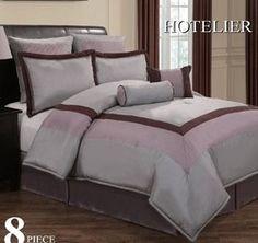 shop for 12pc Luxury Bedding Set- Hotel Plum/Grey/Lavender on beddingonlinestore.us