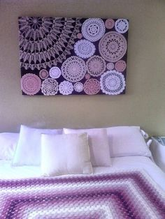 Diy wall art with crochet doilies. Get your doilies here… Crochet Wall Art, Crochet Wall Hangings, Crochet Decoration, Crochet Home Decor, Doilies Crafts, Crochet Doilies, Crochet Rugs, Beaded Crochet, Diy Crochet
