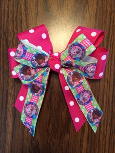 Handmade Doc McStuffins Bow Barrette by wickedhoule on Etsy, $8.00