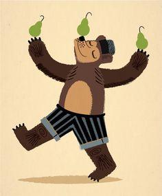 A Bear With Pears - Animal Art - kids illustration - Limited Edition Print - iOTA iLLUSTRATION. $16.00, via Etsy.
