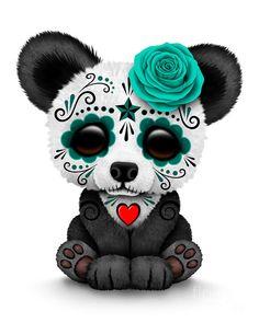 Teal Sugar Skull | Teal Blue Day Of The Dead Sugar Skull Panda Digital Art