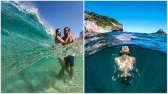Fotógrafo clica com efeito 'aquário' . Lente que divide a foto entre debaixo e acima d'água.