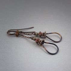 rustic oxidized copper earrings • copper wire drops • antique glass beads • earthy • copper chain • tribal jewelry • raw copper • hand made