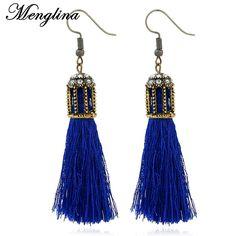 Menglina Fashion Blue Silk String Tassel Earrings Handmade Boheme Long Dangle Earrings For Women Pendientes Borlas