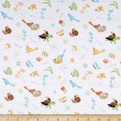 Sweet Meadow Flannel Critter Toss White from @fabricdotcom  Designed by Arrolynn…