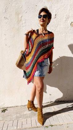 Multicolored boho poncho vegan cotton poncho hippie chic | Etsy