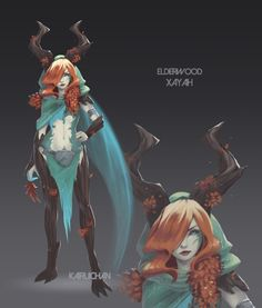 Elderwood Xayah  |  League of Legends Skin Concept by Kairui-chan