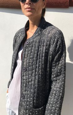 Womens Fashion - Two Grey Kantha Snap Coat - 1 Gray Quilted Clothes, Sewing Clothes, Diy Clothes, Boro Stitching, Coats For Women, Clothes For Women, Japanese Sewing, Quilted Jacket, Fashion Outfits