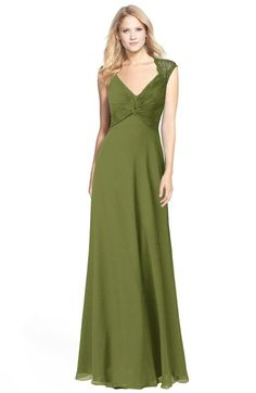 Olive Green Modest Fit-n-Flare V-neck Sleeveless Chiffon Floor Length Bridesmaid Dresses