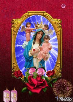 Maria and Hài Nhi Mother Gif, Jesus Mother, Blessed Mother Mary, I Love You Mother, Mary And Jesus, Holy Mary, Art Thou, Jesus Pictures, Gifs