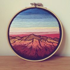 Sun Hitting the Mountains of New Mexico  • Custom Order • 6 inch • • • #embroidery #embroideryart #embroidered #embroideryhoopart #embroideryhoop #mountains #mexico #desert #landscape #vintage #vintagelook #instagood #wallhanging #wallart #cactus #succulants #instaart #artshare #artstagram #makersmovement #makersgonnamake #creativehappylife #sunset #cute #pretty #sky #custom #western #handstitched