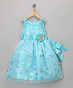 Loving this Pretty Me Turquoise Polka Dot Party Dress - Toddler & Girls on #zulily! #zulilyfinds