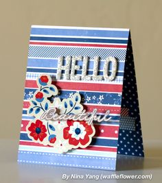 Handmade hello cards created using @Pebbles Inc. #Americana collection by @ninacrafting #handmade #cards #summer