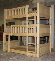 bunk beds 64 - custom unfinished triple bunk bed.JPG (538×593)  Amanda Lomason- this is PERFECT for your kidies!