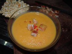Pumpkinsoup with coconut, curry and chili.