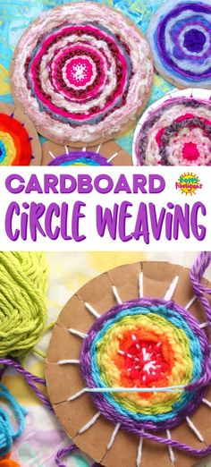 Easy Cardboard Circle Weaving for Kids - Learn how to make a circular cardboard. - Easy Cardboard Circle Weaving for Kids – Learn how to make a circular cardboard weaving loom, ho - Yarn Crafts For Kids, Arts And Crafts For Adults, Crafts For Teens To Make, Easy Arts And Crafts, Arts And Crafts Projects, Fun Crafts, Creative Crafts, Kids Diy, Diy Projects