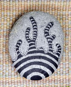 Doodled Rock, Hand Drawn, Striped, OOAK