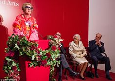 All ears: Artist Grayson Perry certainly caught the eye of the Queen and Prince Philip as they enjoyed an event at the Royal Academy Of Arts on Tuesday evening