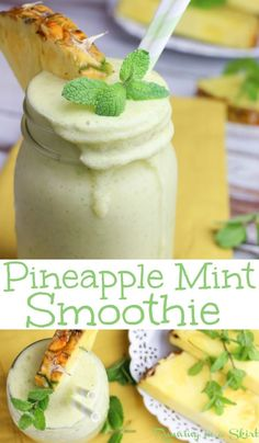 Creamy & Refreshing Pineapple Mint Smoothie recipe.  This simple healthy pineapple smoothie is the best easy breakfast, for weight loss or post workout snack.  Has greek yogurt for protein with the option of adding more protein powder.  Uses almond milk, mango and frozen banana for plenty of flavor! / Running in a Skirt #smoothie #pineapple #mint #recipe #healthy #vegetarian #drink #easy #summer
