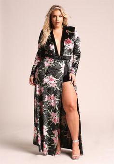 Plus Size Clothing | Plus Size Floral Velvet High Slit Plunge Maxi Dress | Debshops
