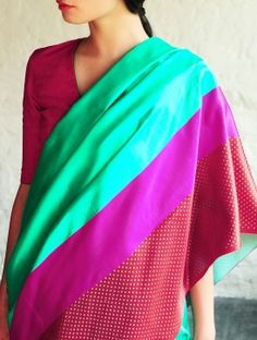 Sultanah Turquoise-Red Silk Saree By Raw Mango