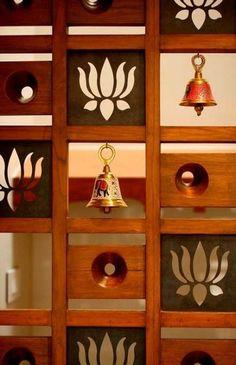 Ideas For Wooden Door Design Kitchens - Holztür Design Living Room Partition, Room Partition Designs, Wooden Door Design, Wooden Doors, Wooden Ceiling Design, Temple Design For Home, Temple Room, Altar, Pooja Room Door Design