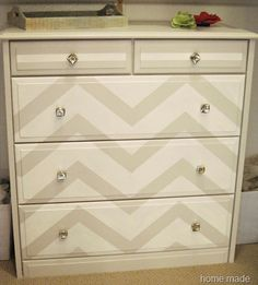 chevron painted furniture. DIY Cream And Grey Chevron Dresser. I\u0027m Working On A Dresser Just Like Painted Furniture L