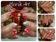 #noel #ongle #christmas #nails #red #gold #rouge #or #nailart #design Christmas Nails, Red Gold, Nailart, Earrings, Jewelry, Design, Ongles, Red, Noel