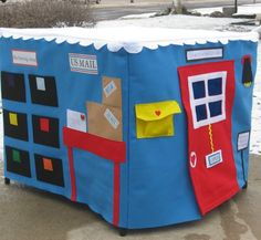 Busy Day Card Table  Playhouse, Personalized, Custom Order, Includes 32 Play Pieces and a Mailbag. $245.00, via Etsy.