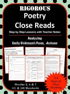 Step-by-step poetry close read with teacher notes. Emily Dickinson, Autumn